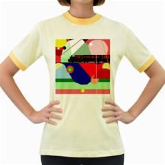 Abstract train Women s Fitted Ringer T-Shirts