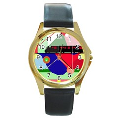 Abstract train Round Gold Metal Watch