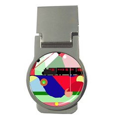 Abstract train Money Clips (Round)