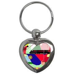 Abstract train Key Chains (Heart)