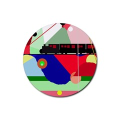 Abstract train Rubber Round Coaster (4 pack)