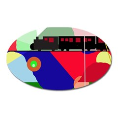 Abstract train Oval Magnet