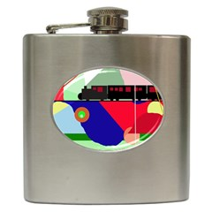 Abstract train Hip Flask (6 oz)
