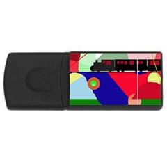 Abstract train USB Flash Drive Rectangular (2 GB)