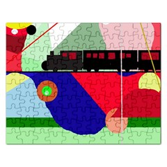 Abstract train Rectangular Jigsaw Puzzl