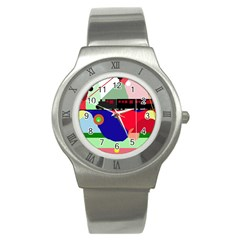 Abstract train Stainless Steel Watch