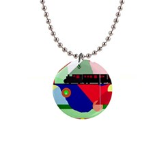Abstract train Button Necklaces