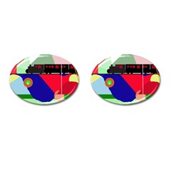 Abstract train Cufflinks (Oval)