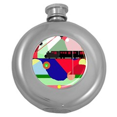 Abstract train Round Hip Flask (5 oz)