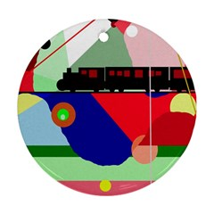 Abstract train Round Ornament (Two Sides)