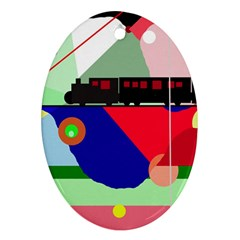 Abstract train Oval Ornament (Two Sides)