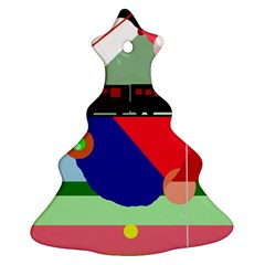 Abstract train Christmas Tree Ornament (2 Sides)