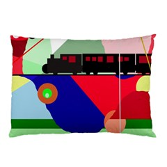Abstract train Pillow Case (Two Sides)