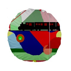 Abstract train Standard 15  Premium Round Cushions