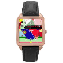 Abstract train Rose Gold Leather Watch