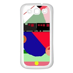 Abstract train Samsung Galaxy S3 Back Case (White)