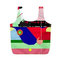 Abstract train Full Print Recycle Bags (M)