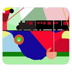 Abstract train Double Sided Flano Blanket (Small)
