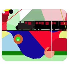 Abstract train Double Sided Flano Blanket (Medium)