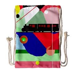 Abstract train Drawstring Bag (Large)