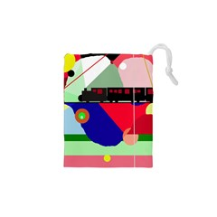 Abstract train Drawstring Pouches (XS)