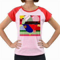Abstract train Women s Cap Sleeve T-Shirt