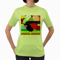 Abstract train Women s Green T-Shirt