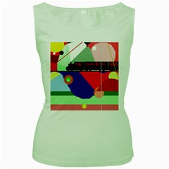 Abstract train Women s Green Tank Top