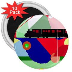 Abstract train 3  Magnets (10 pack)