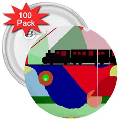 Abstract train 3  Buttons (100 pack)