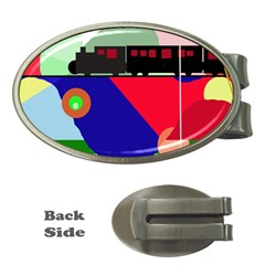 Abstract train Money Clips (Oval)