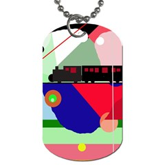 Abstract train Dog Tag (Two Sides)