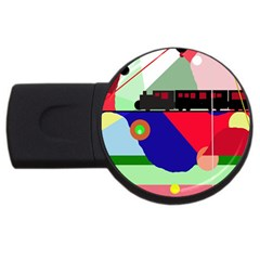 Abstract train USB Flash Drive Round (2 GB)