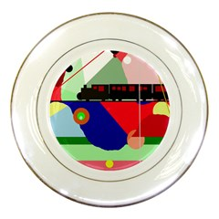 Abstract train Porcelain Plates