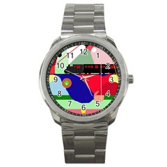 Abstract train Sport Metal Watch