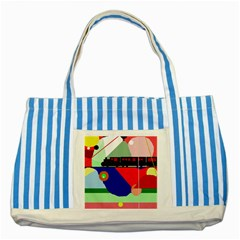 Abstract train Striped Blue Tote Bag