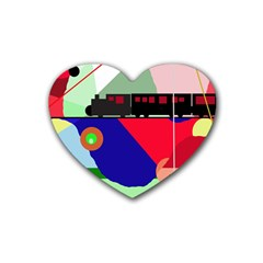 Abstract train Heart Coaster (4 pack)