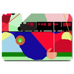 Abstract train Large Doormat