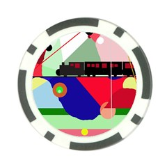 Abstract train Poker Chip Card Guards