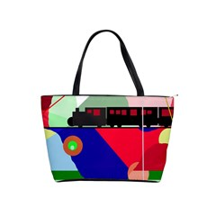 Abstract train Shoulder Handbags