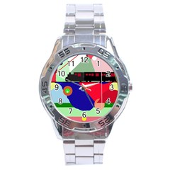 Abstract train Stainless Steel Analogue Watch