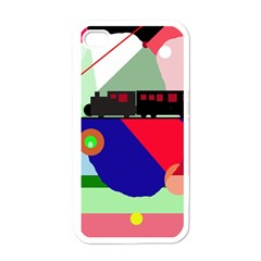 Abstract train Apple iPhone 4 Case (White)