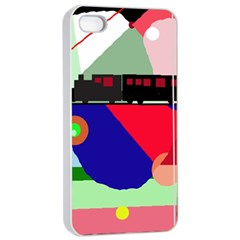Abstract train Apple iPhone 4/4s Seamless Case (White)