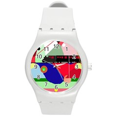Abstract train Round Plastic Sport Watch (M)