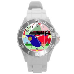 Abstract train Round Plastic Sport Watch (L)