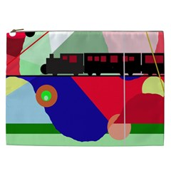 Abstract train Cosmetic Bag (XXL)