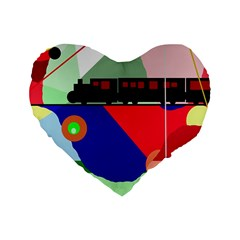 Abstract train Standard 16  Premium Heart Shape Cushions