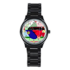 Abstract train Stainless Steel Round Watch