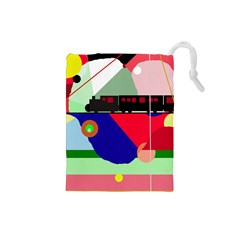 Abstract train Drawstring Pouches (Small)
