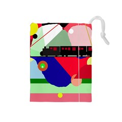 Abstract train Drawstring Pouches (Medium)